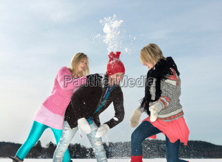 friends having snow fight