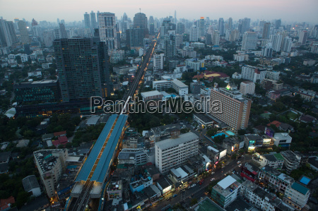 high angle of cityscape bangkok thailand