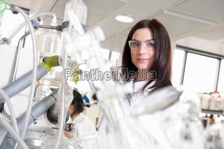 laboratory scientist looking at camera