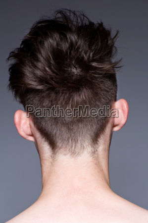 close up of young mans hairstyle
