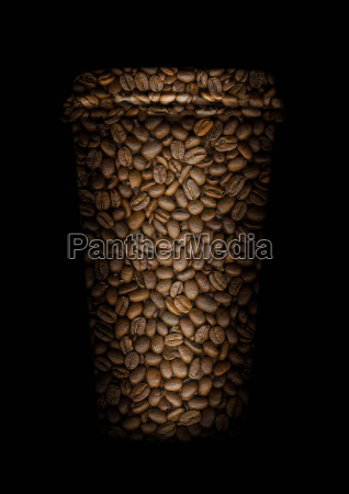 coffee beans in shape of cup