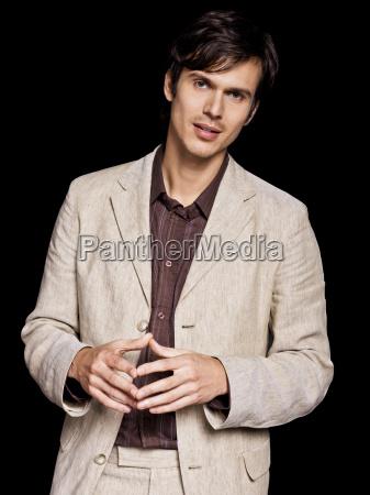 man wearing beige jacket portrait