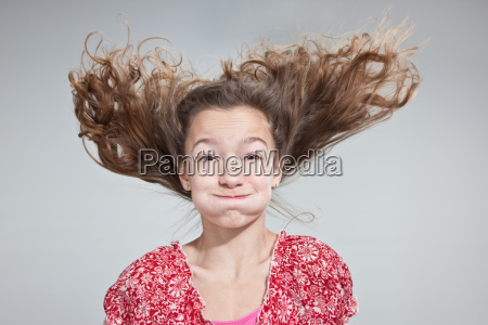 girl with windswept hair