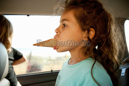 young girl with ice cream cone
