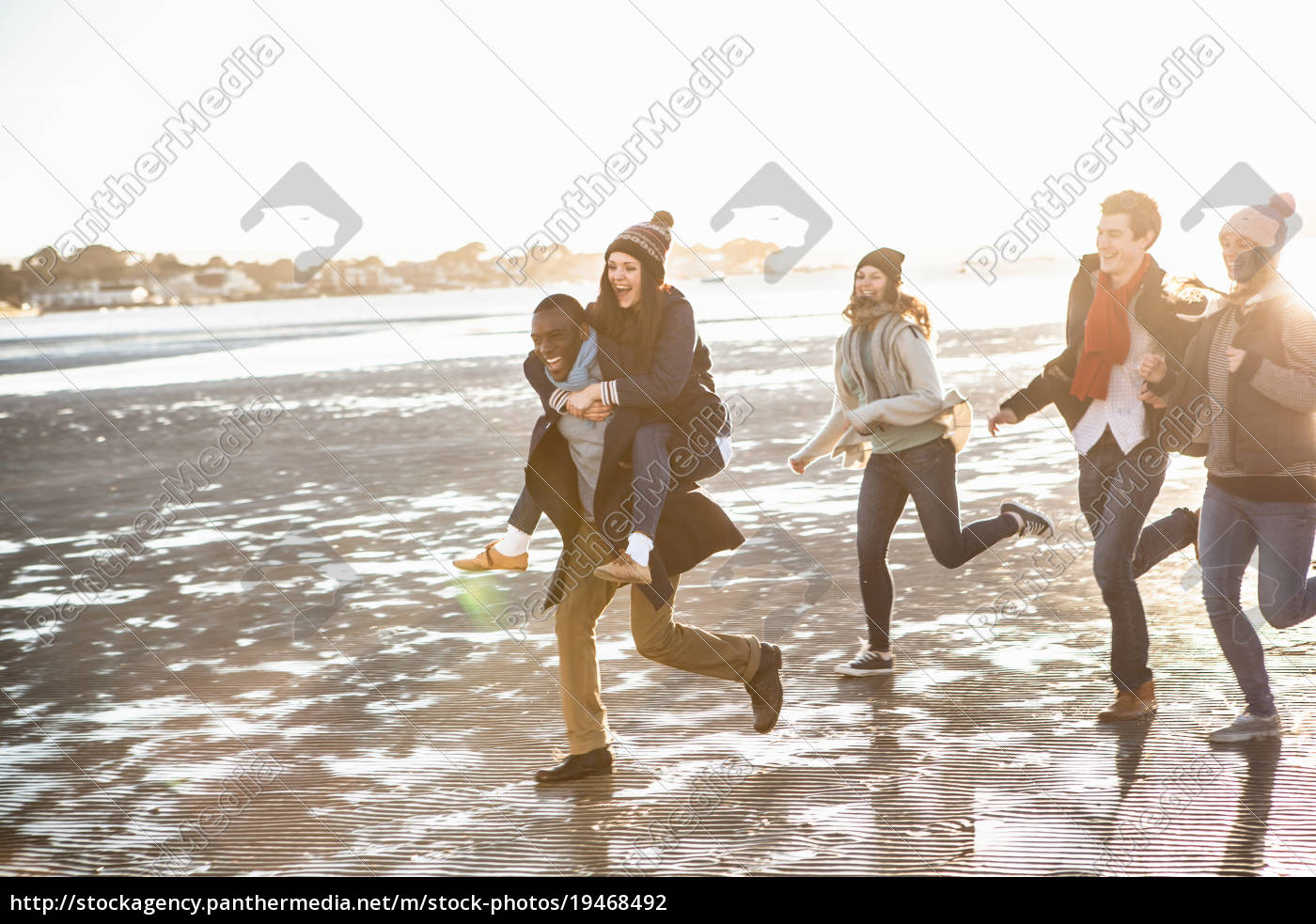 five, adult, friends, running, on, the - 19468492