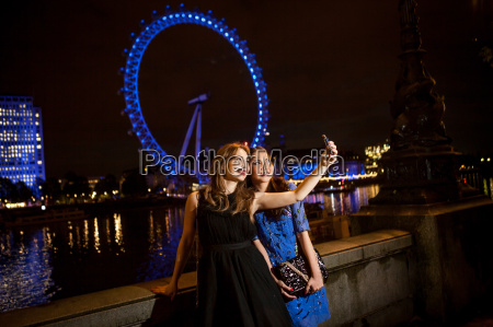 two young female friends taking self