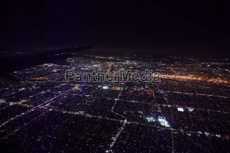 aerial view of brooklyn by night
