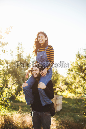 young couple in rural environment young