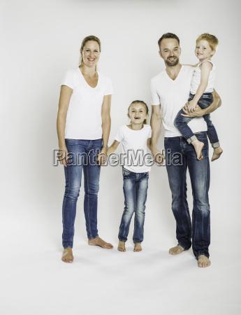 studio portrait of mature parents with