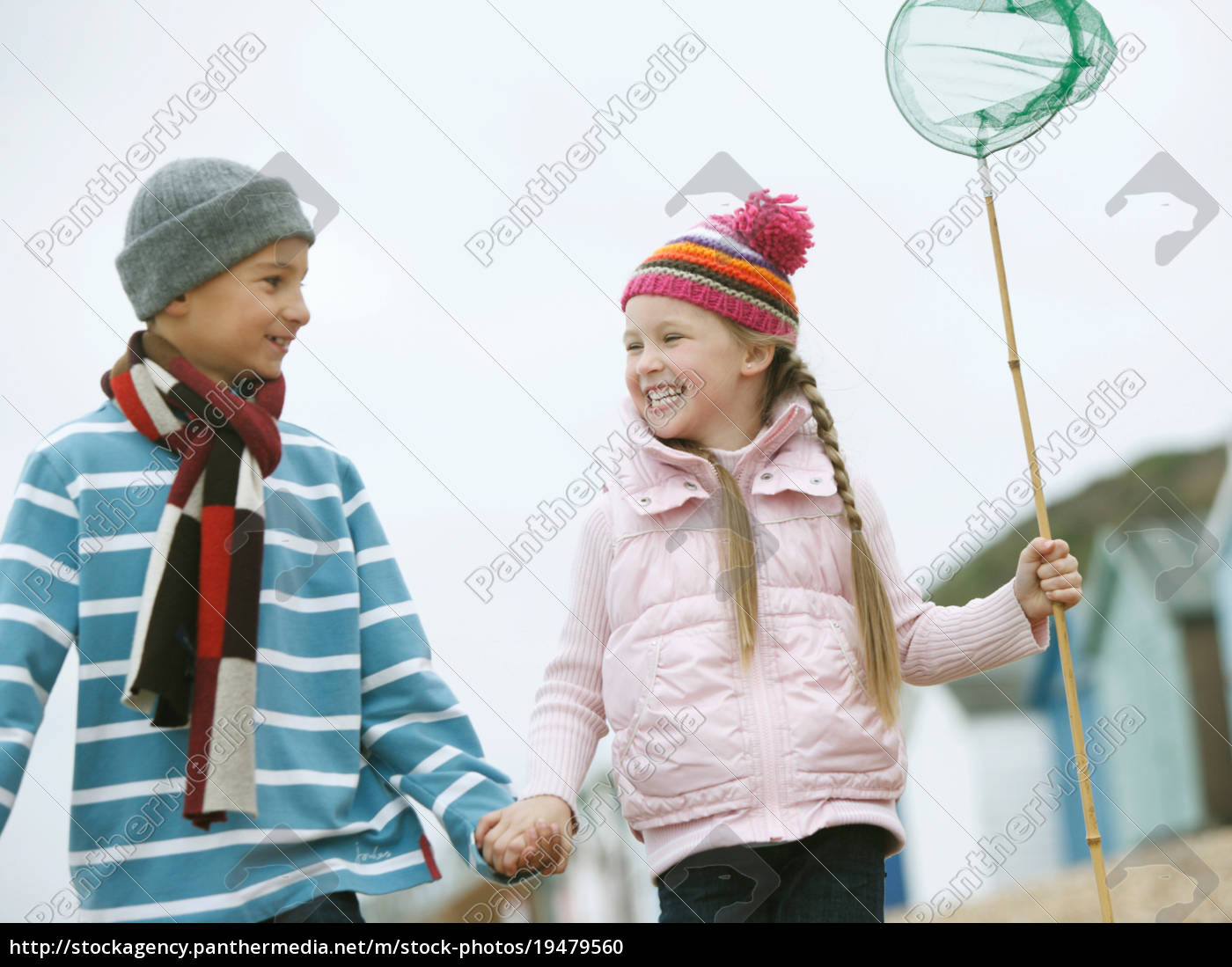 young, boy, and, girl, strolling, along - 19479560