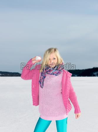 girl with snow ball
