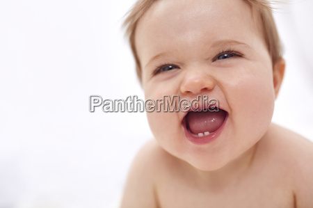 baby girl laughing close up