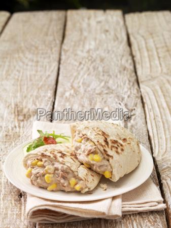 pita filled with tuna and sweetcorn