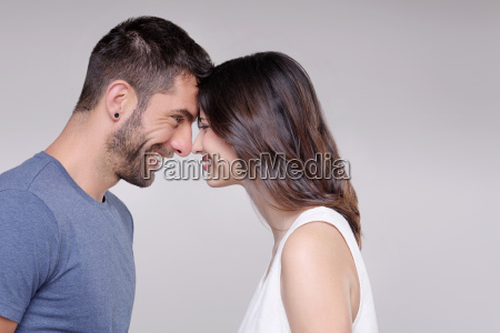portrait of heterosexual couple face to