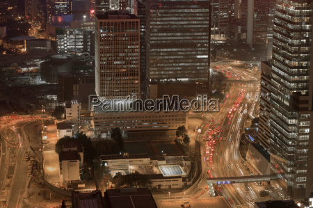 aerial view of city center at