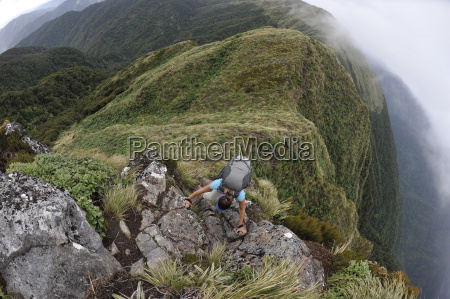 high angle view of female hiker