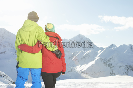 couple looking at mountains kuhtai austria