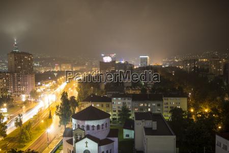 city skyline at night sarajevo bosnia