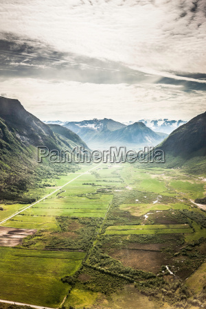 aerial view of rural valley floor