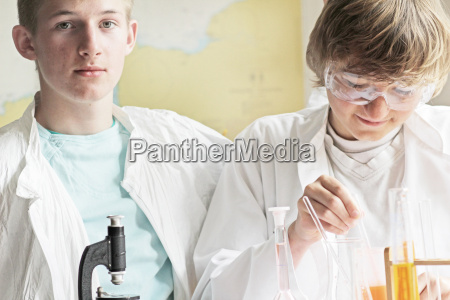students working in science lab