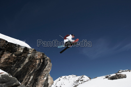 low angle view of male skier