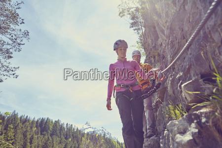 couple rock climbing ehrwald tyrol austria