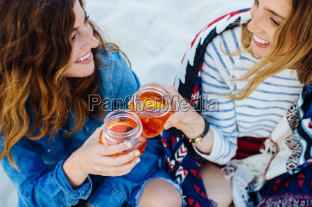 two young female friends toasting with