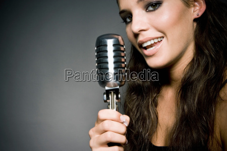 woman singing close up