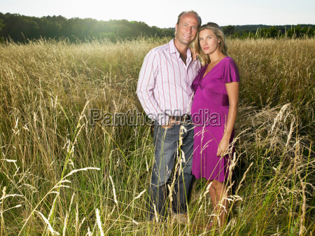man and pregnant wife in a