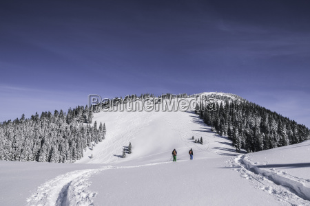 distant view of two male skiers