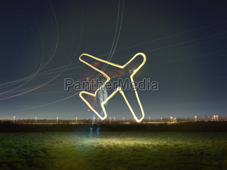 flight path light trails and glowing