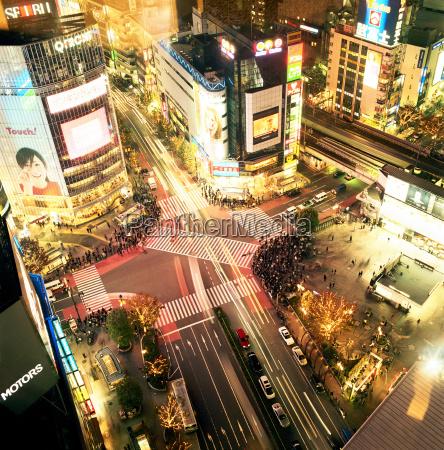 night view of crossing tokyo japan