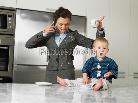 working mother with son making a