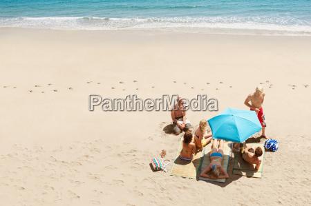 group of people sunbathing on beach