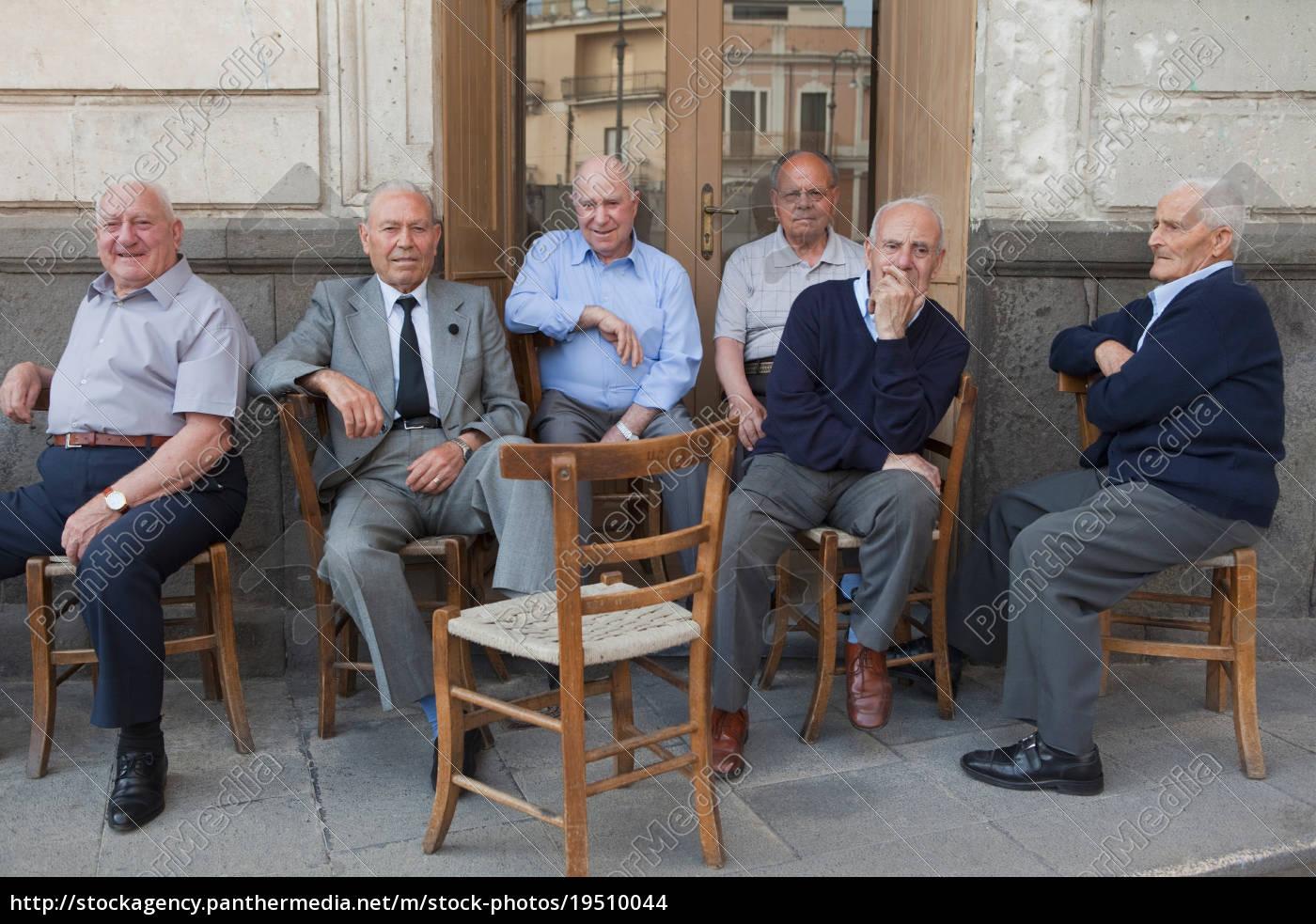 six, old, men, sitting, outside, on - 19510044