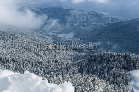 high angle view over snow covered
