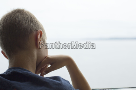 rear view of boy looking out