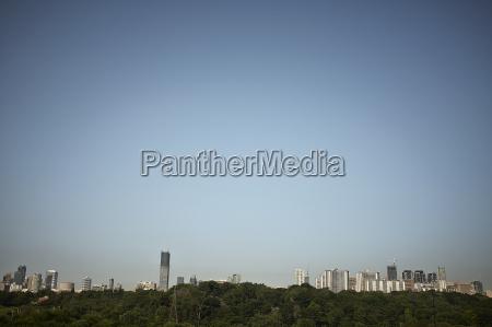 distant view of skyscraper skyline hudson