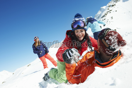 friends, play, fighting, in, snow, , kuhtai, - 19514626