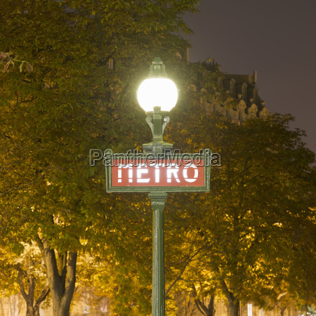 view of street lamp and metro