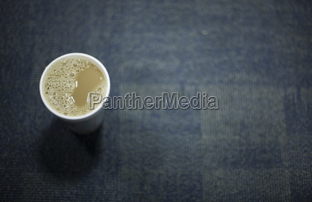 overhead view of full cup of