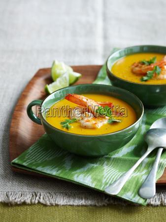bowl of shrimp pumpkin soup