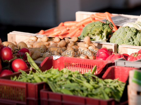 fresh fruit and vegetables in a