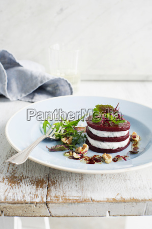 stacked beetroot and goat cheese salad