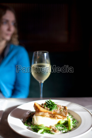 plate of food on restaurant table
