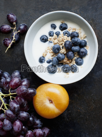 bowl of oatmeal with fresh milk