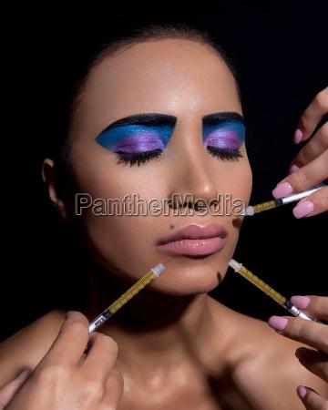 woman, with, dramatic, eye, makeup, , having - 19525764