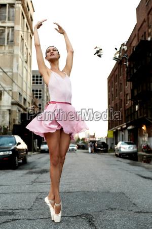ballerina on an urban street