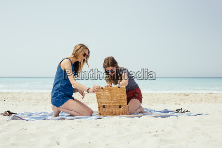 two young female friends emptying picnic