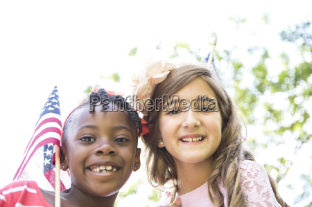 portrait of girl with american flag